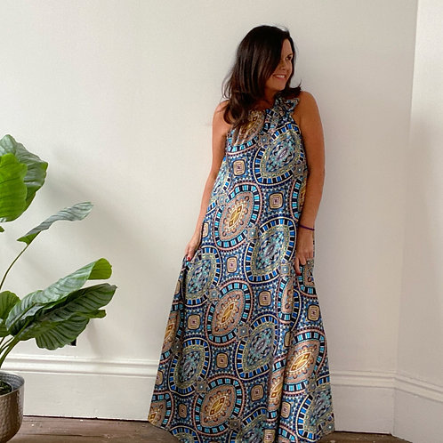 BOW TIED PRINTED MAXI - BLUES