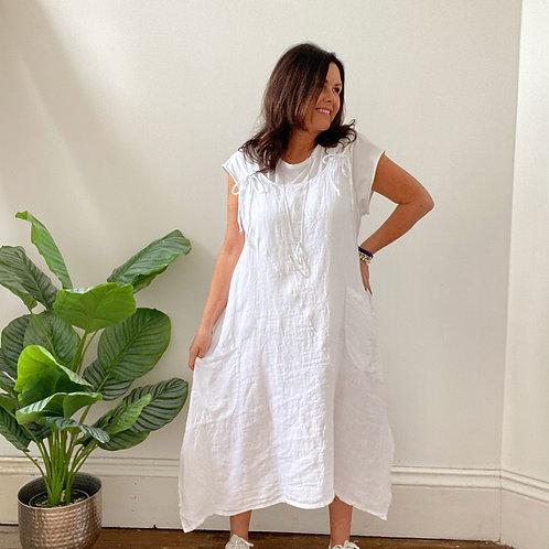 LINEN TIE  SHOULDER DRESS - WHITE