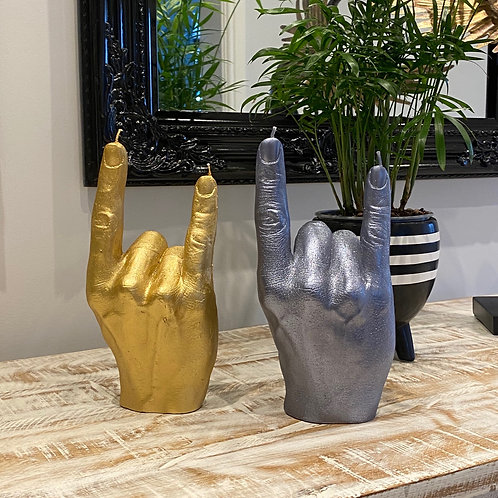 HAND ROCK GESTURE- DEVILS HORNS CANDLE BY CANELLANA