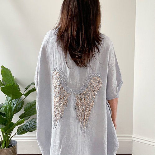 MADE IN ITALY SEQUIN WINGS TOP - SILVER GREY