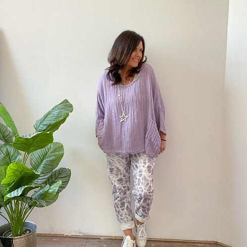 MARBLE PRINT MAGIC TROUSERS - LILAC