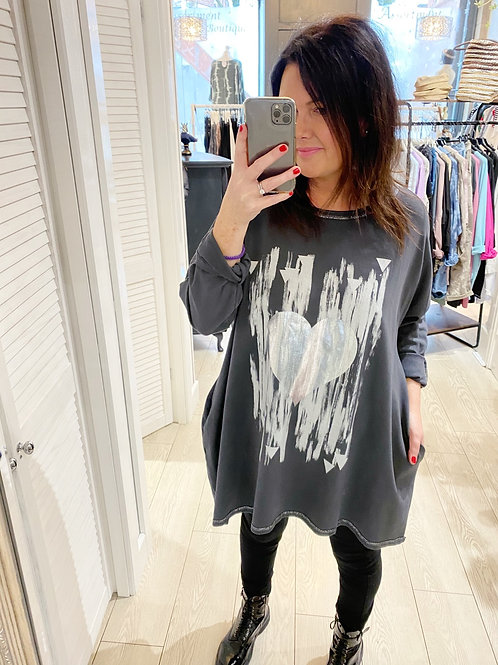 SILVER HEART TOP WITH POCKETS - CHARCOAL