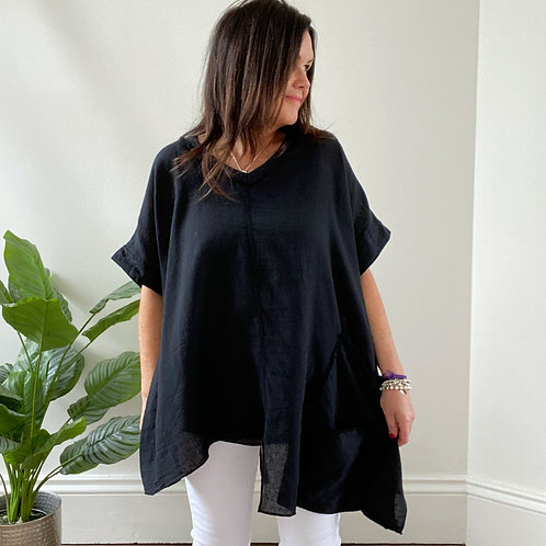 MADE IN ITALY TWO POCKET LINEN TOP - BLACK