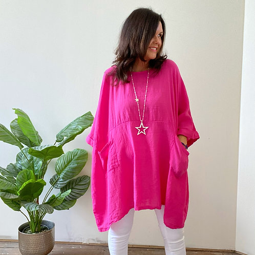 TWO POCKET TUNIC - HOT PINK