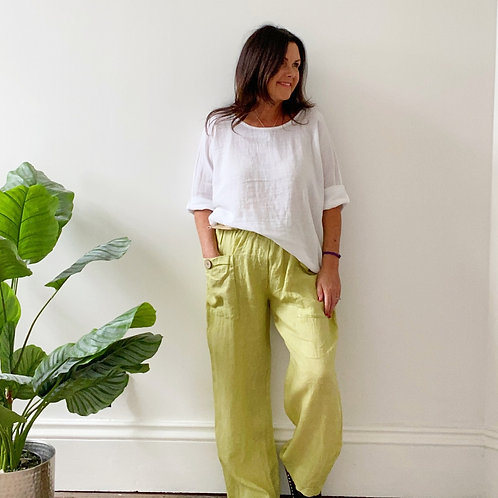 BELTED LINEN TROUSERS - LIME