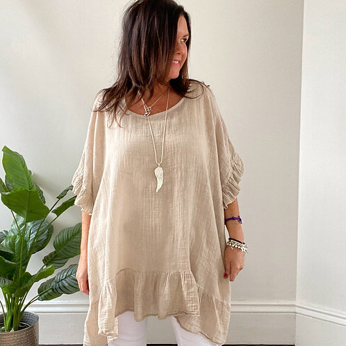 MADE IN ITALY FRILL TOP - STONE