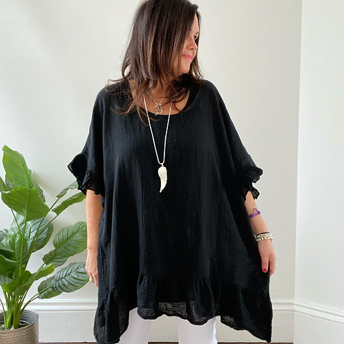 MADE IN ITALY FRILL TOP - BLACK