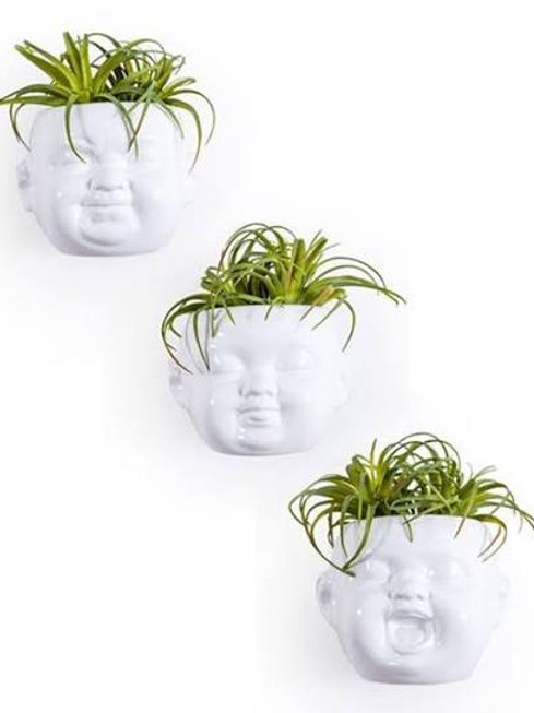 SET  OF 3 WHITE CERAMIC BABY FACE WALL POTS