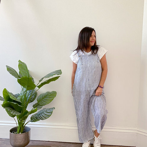MADE IN ITALY CABO STRIPY JUMPSUIT - BLUE