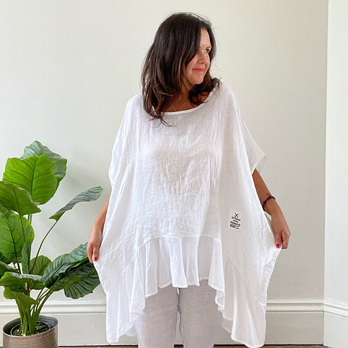 RUCHED BACK LINE  TOP - WHITE