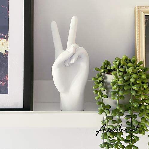 WHITE PEACE HAND FIGURE