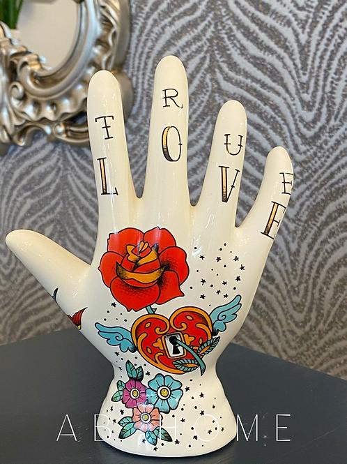 CERAMIC TRUE LOVE TATTOOED PALMISTRY HAND