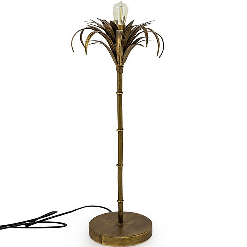 ANTIQUE GOLD IRON PALM TREE TABLE LAMP