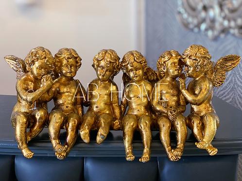 LARGE ANTIQUE GOLD SITTING ROW OF CHERUBS