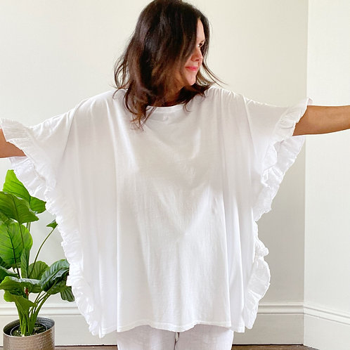 FRILL SIDE TOP - WHITE