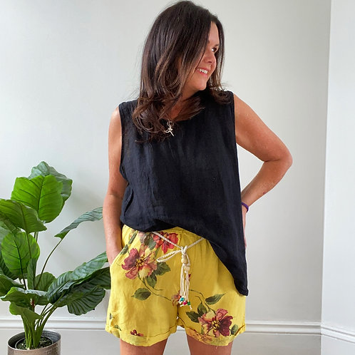 FLORAL LINEN SHORTS - YELLOW