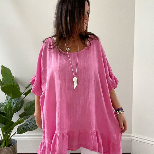 MADE IN ITALY FRILL TOP - HOT PINK
