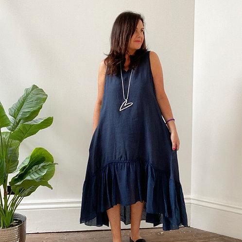 LINEN CONTRAST HEM DRESS - BLUEY BLACK