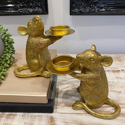 PAIR OF GOLD MOUSE CANDLE HOLDERS