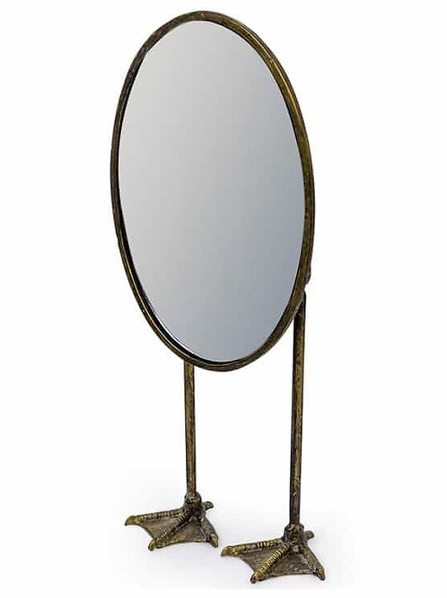 ANTIQUE SILEVER/PEWTER OVAL TALL DUCK FEET TABLE MIRROR
