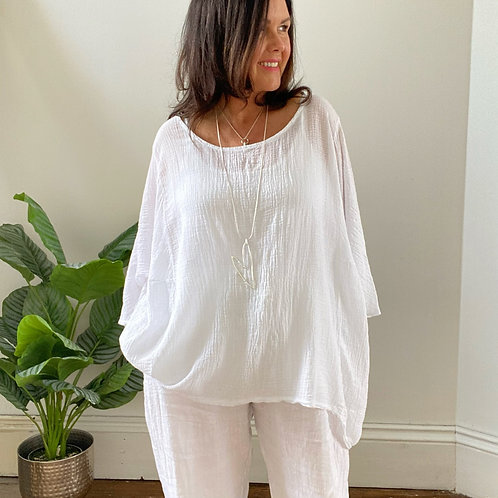 BATWING LIGHTWEIGHT CRINKLE TOP - WHITE