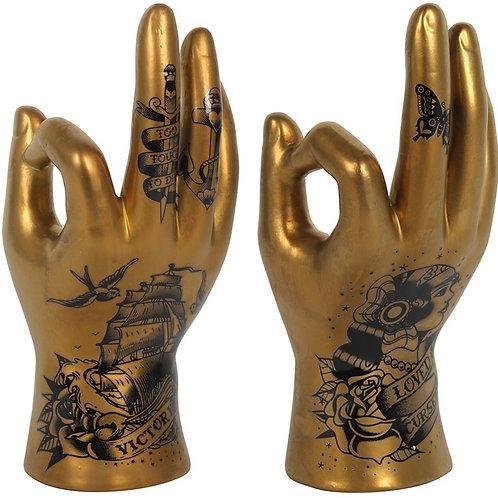 GOLD TATTOO PALMISTRY HAND ORNAMENT