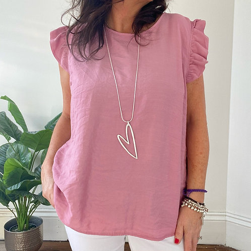 BUTTON BACK TOP - ROSE PINK