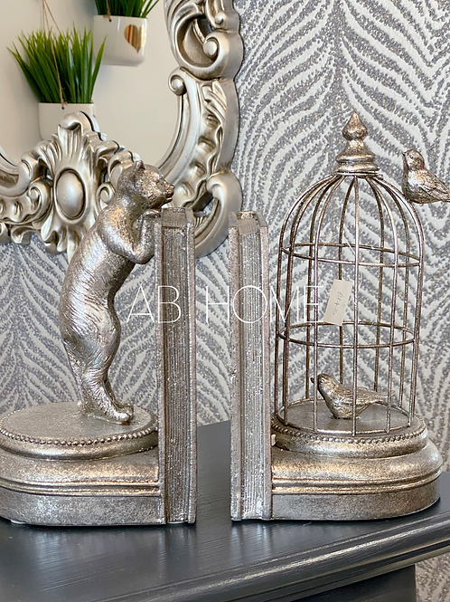 ANTIQUE SILVER CURIOUS CAT PAIR OF BOOK ENDS
