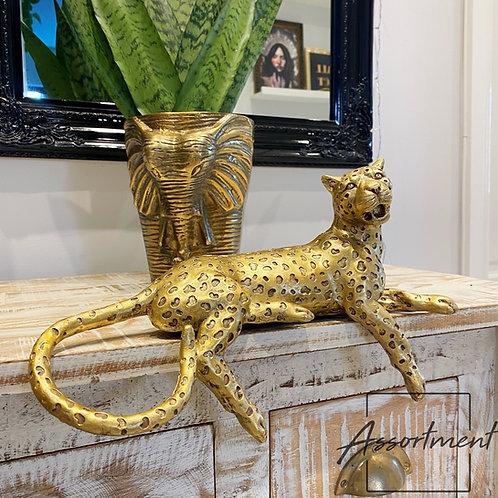GOLD LEOPARD SHELF SITTER