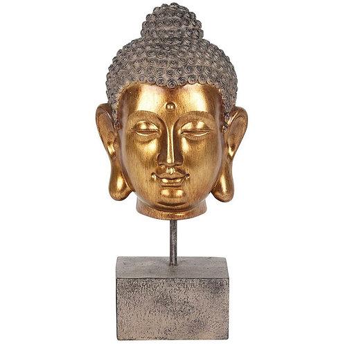 GOLD BUDDHA HEAD ON STAND