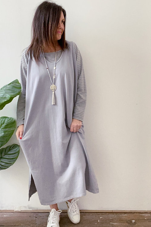 PINAFORE TWIN DRESS - GREY