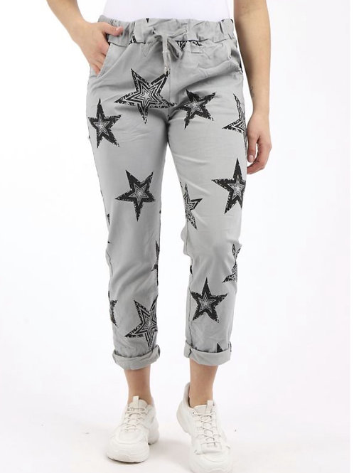 MADE IN ITALY STAR PRINT MAGIN TROUSERS