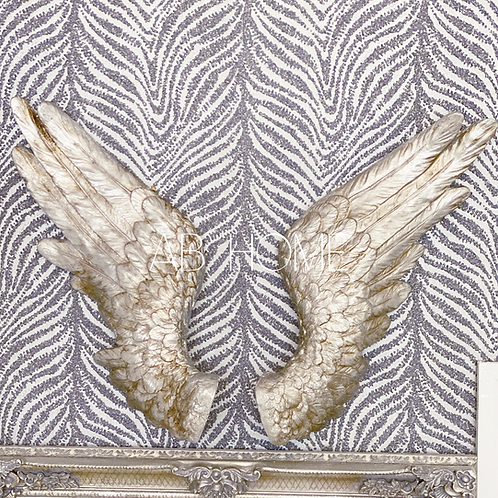 PAIR OF ANTIQUE SILVER ANGEL WINGS WALL DECOR