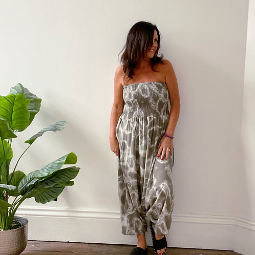 TIE DYE  BOOB TUBE JUMPSUIT - TAUPE