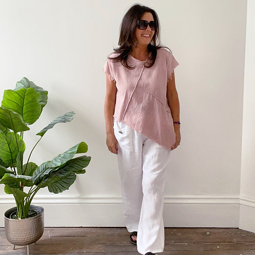 BELTED LINEN TROUSERS - WHITE