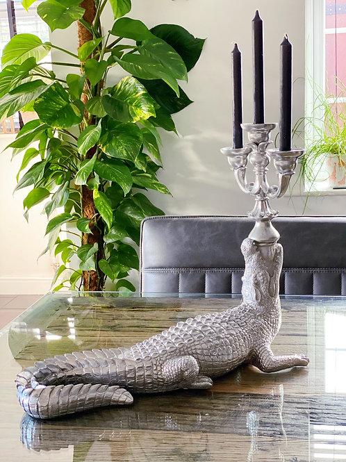 LARGE SILVER CROCODILE TABLE CANDELABRA