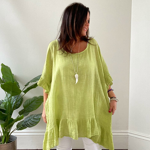 MADE IN ITALY FRILL TOP - LIME