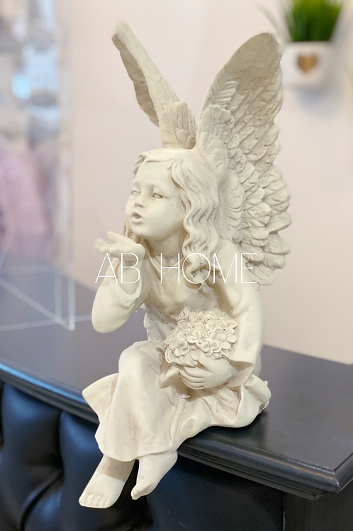 ANTIQUE WHITE SITTING ANGEL FIGURE