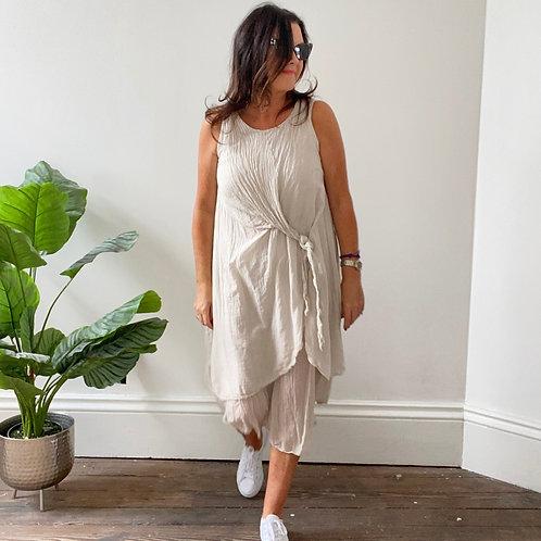 LOOSE TIE FRONT DRESS -  BEIGE