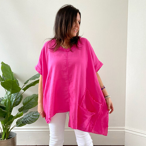 MADE IN ITALY TWO POCKET LINEN TOP - HOT PINK