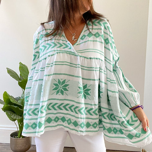 MADE IN ITALY AZTEC PRINT BOHO TOP - MINT