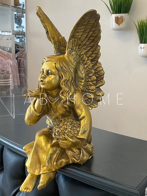 ANTIQUE GOLD SITTING ANGEL FIGURE