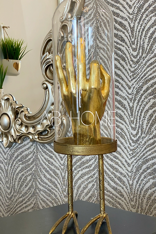 LARGE GLASS DOME ON METAL BIRDS FEET BASE
