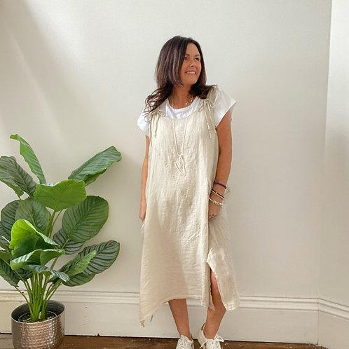 LINEN TIE  SHOULDER DRESS - BEIGE