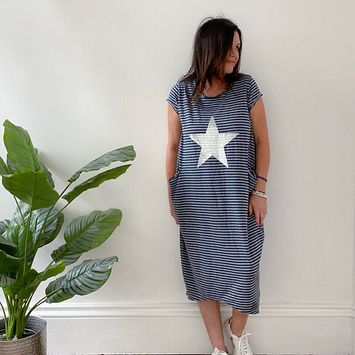 MADE IN ITALY STAR AND STIPE DRESS - NAVY