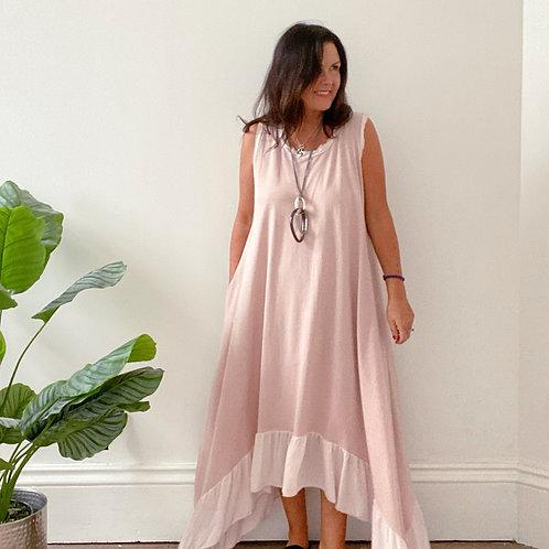 FRAYED EDGE DRESS - PINK