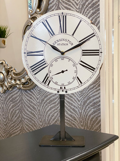 WHITE TABLE CLOCK ON STAND