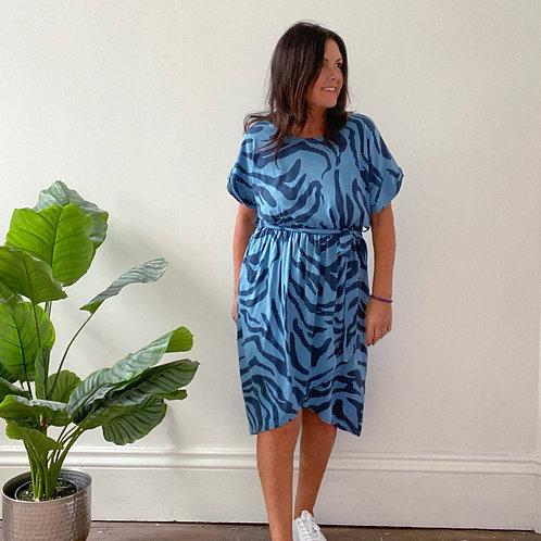 ZEBRA PRINT WRAP FRONT DRESS - BLUE