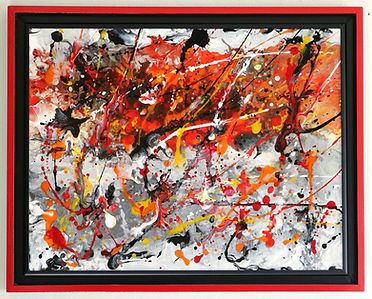 Abstract acrylic painting by Peter Kersztury in reds, yellow, greys,  black and white with custom frame