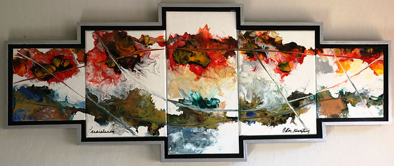 A 5 part abstract acrylic painting by Peter Keresztury in reds, yellows, blues, greys and white with custom frame